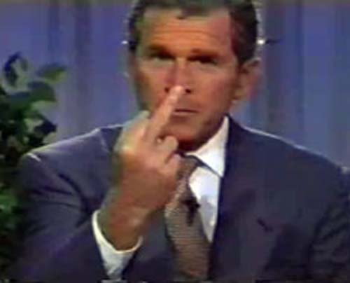 Bush giving the Middle Finger Photo